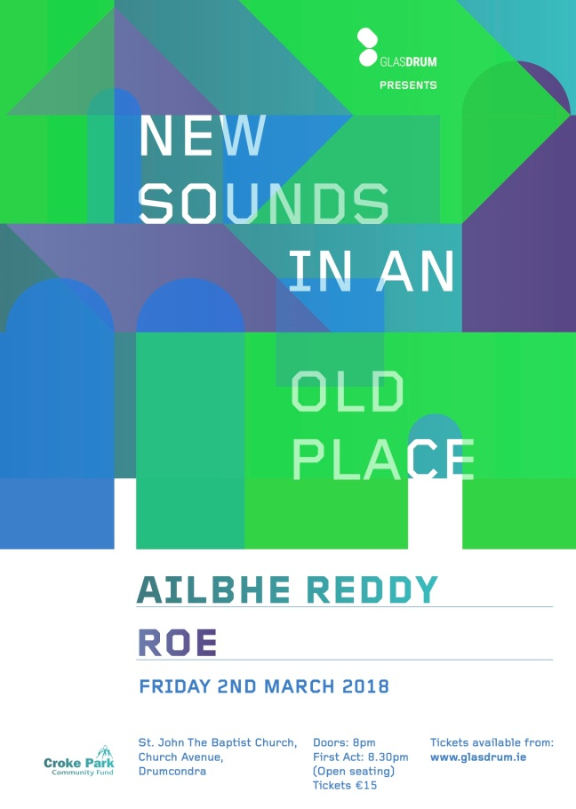 New Sounds 3 A3 poster outlined type green and blue